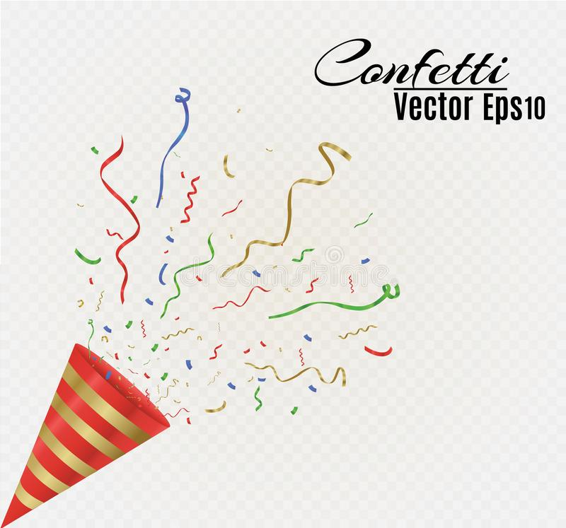 Gold streamers set. Golden serpentine ribbons, isolated on transparent background. Decoration for party, birthday. Celebrate or Christmas carnival, New Year stock illustration