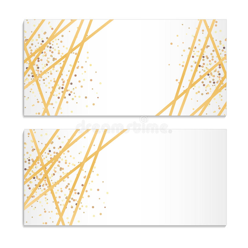 Vector Gift Voucher With Golden Sparkling Pattern And