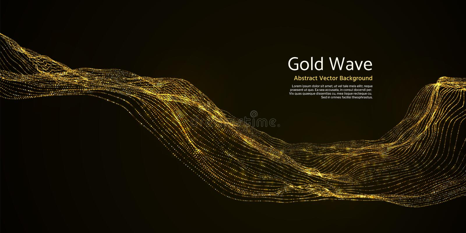Gold striped abstract wave on dark background. Golden blinking wavy lines royalty free illustration