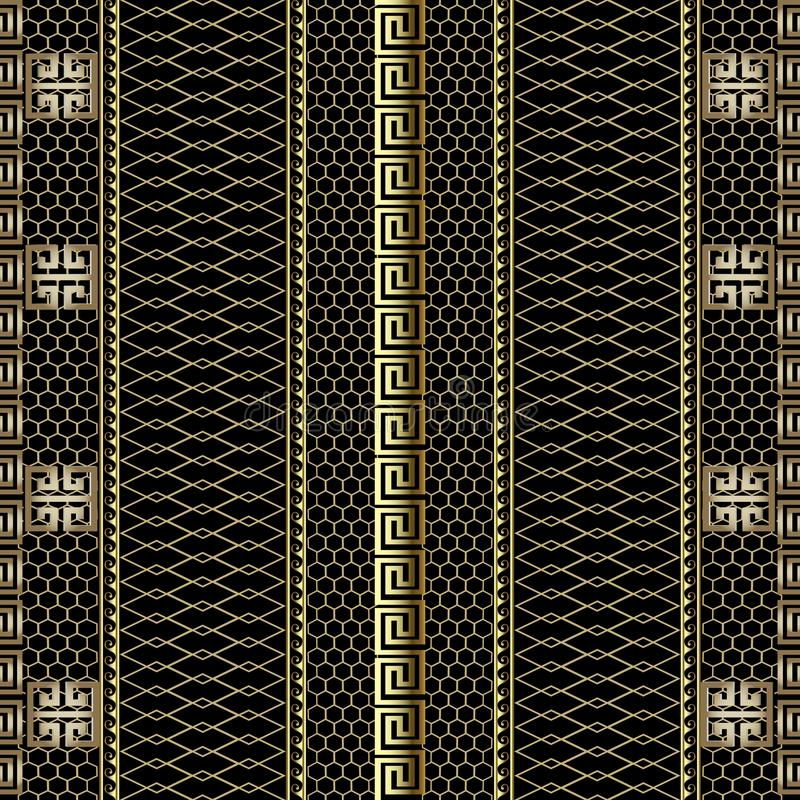 Gold striped 3d greek key meander borders seamless pattern. Grid lattice ornamental background. Lace textured ornament. Decorative. Repeat backdrop. Wave lines vector illustration
