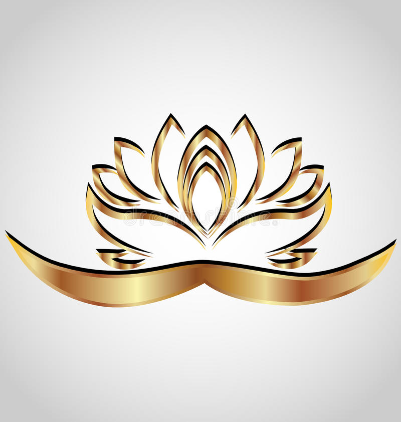 Gold stylized lotus flower. Vector image design background logo template royalty free illustration