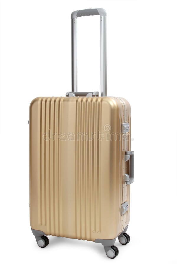 Gold suitcase. On white royalty free stock photo