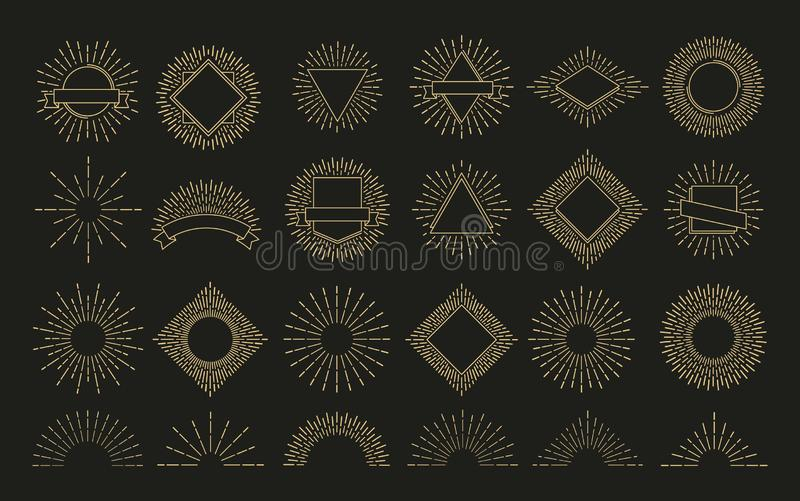 Gold sunburst. Retro burst radial emblem. sunrise sparkle shapes. Sunshine, shine rays vector labels stock illustration