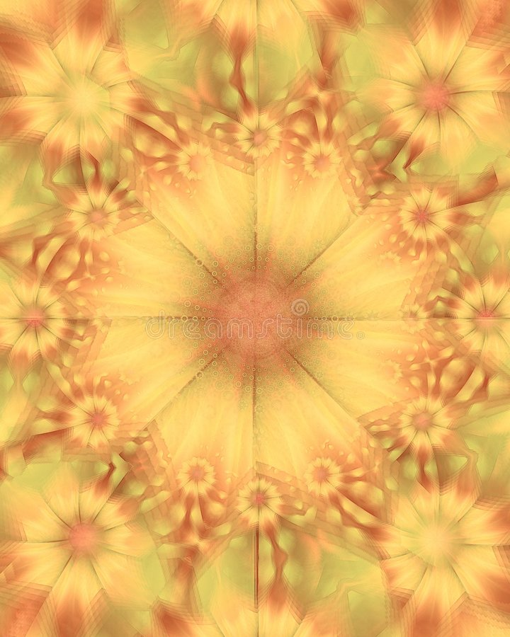 Gold Sunflowers Flower Texture. A circle texture pattern of sunflowers in gold and red colors stock image