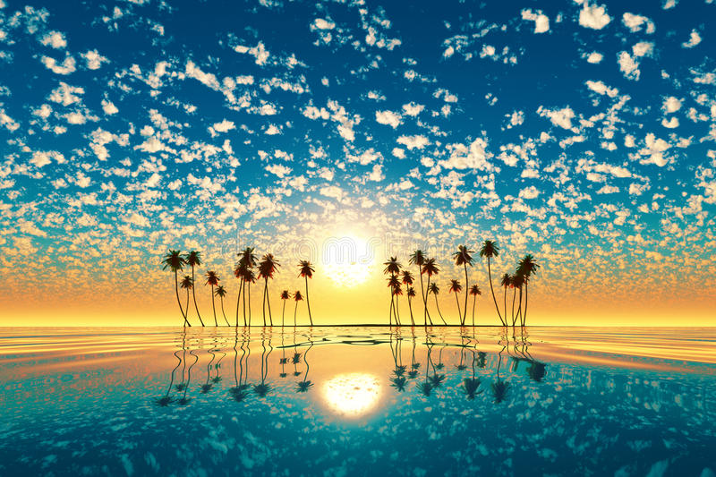 Download Gold Sunset Above Tropic Island Turquoise Stock Image - Image of landscapes, painting: 42042077