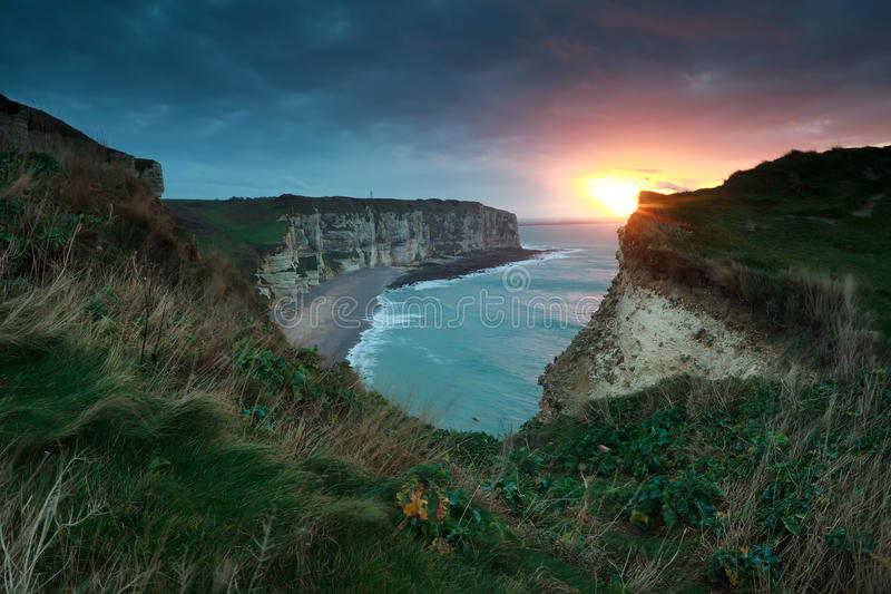 Gold sunset over Atlantic ocean coast royalty free stock photos