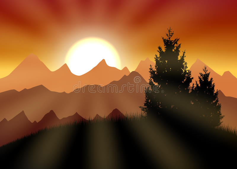 Gold sunset stock illustration