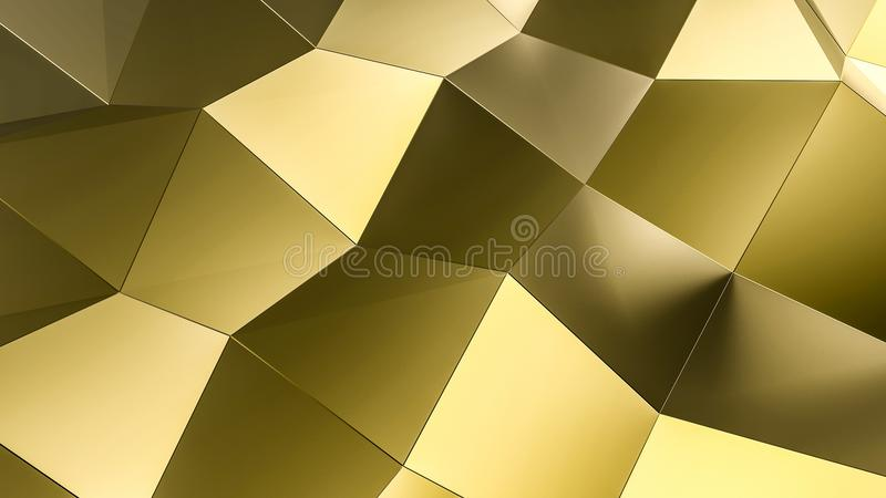 Gold surface low poly futuristic background. 3D illustration and rendering image vector illustration