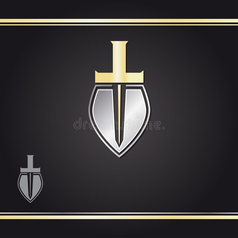 Gold sword and silver shield logo design  template on black background. Watermark royalty free illustration