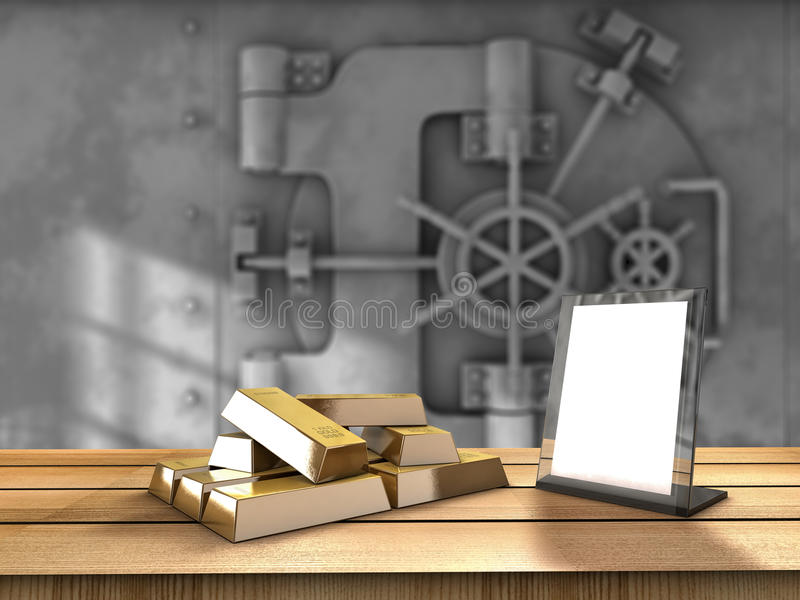 Gold table. Table with gold bars and a vaul behind royalty free illustration