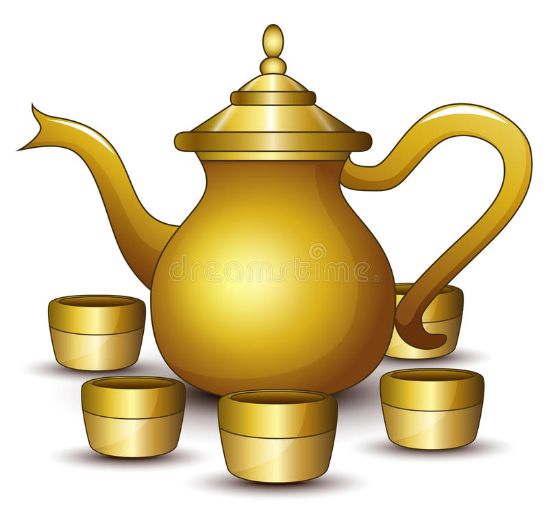 Gold teapot cartoon with some cup stock illustration