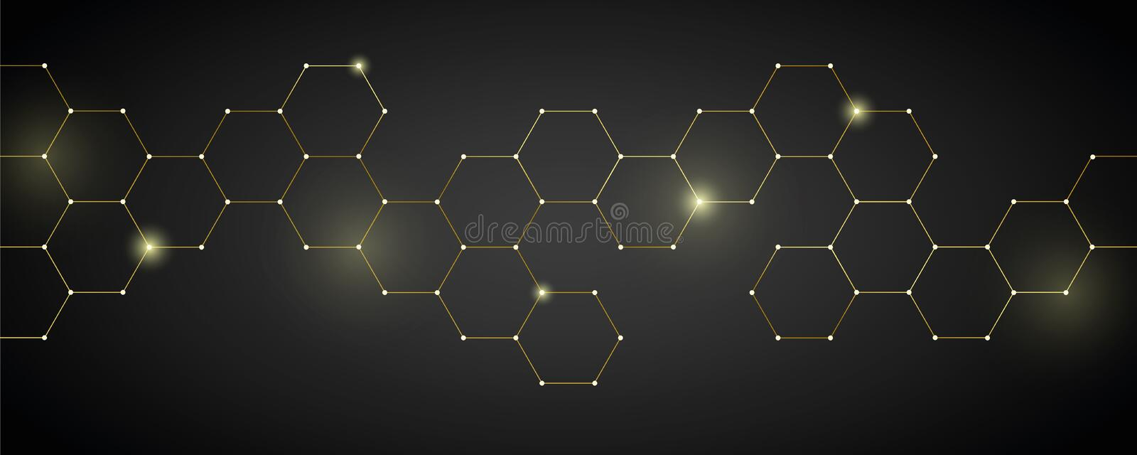 Gold technical honeycomb background digital electronics. Vector illustration EPS10 royalty free illustration