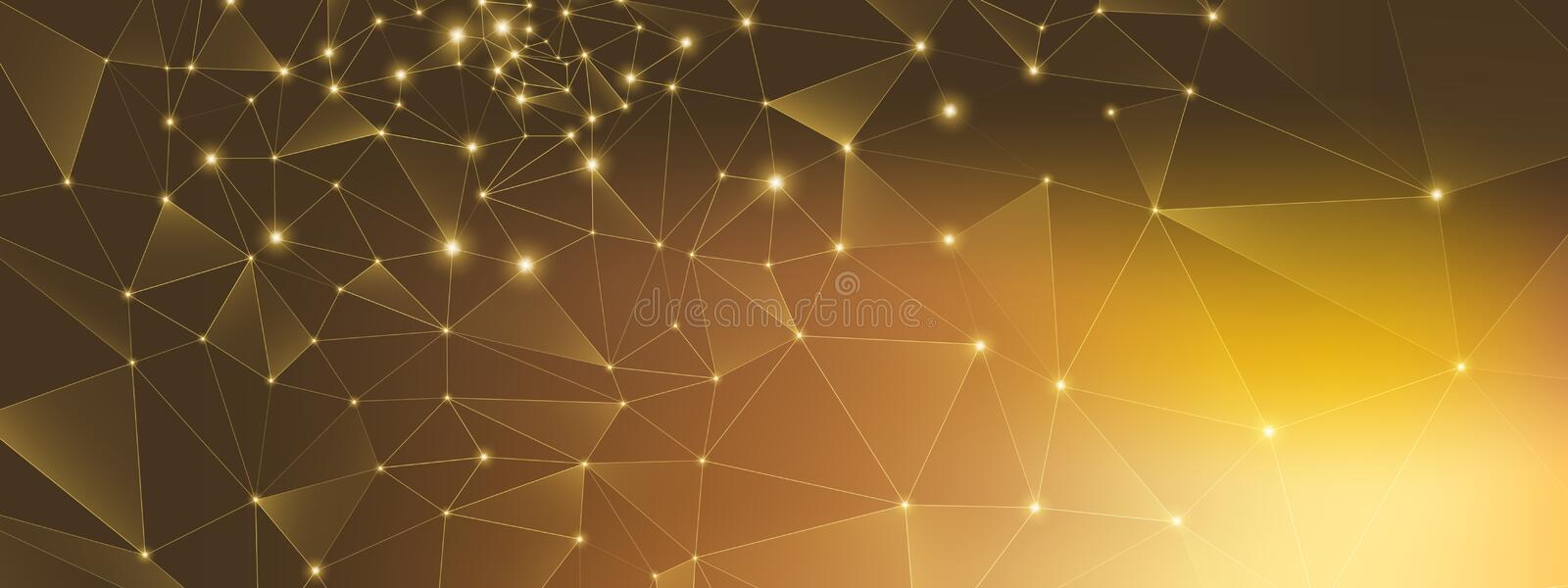Gold Technology Connection. Big Data 3d. High. Depth Network. Glow Triangular Background. Brown Technology Abstract. 3d Big Data. Premium Grid Background. Gold royalty free illustration