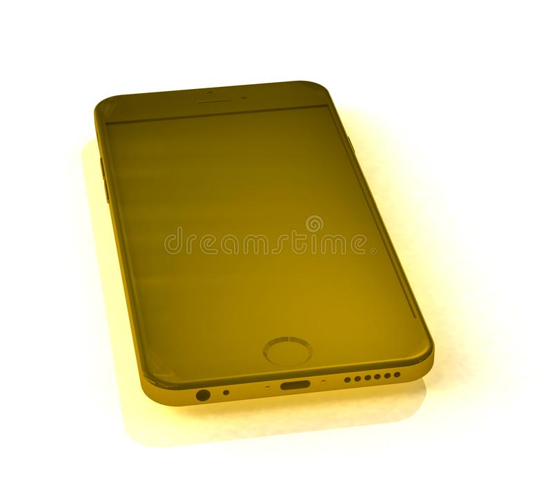 Gold telephone over white stock photography