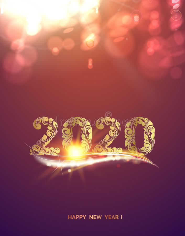Gold template over purple background with golden bokeh. Happy new year 2020. Christmas card. Text on the color bokeh royalty free illustration