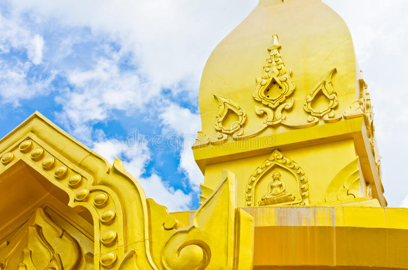 Gold temple in Wat nong pah pong and blue sky. Gold temple in Wat nong pah pong in Thailand and blue sky royalty free stock photography