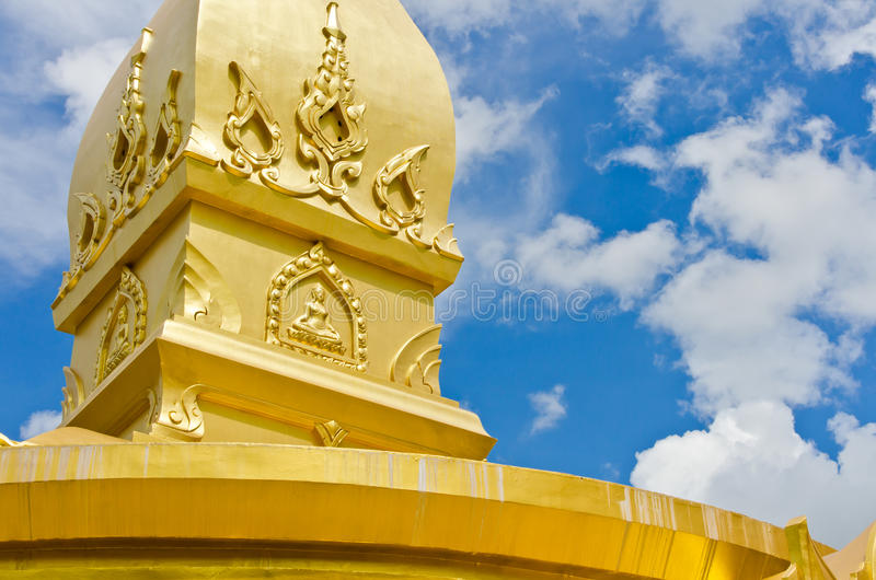 Gold temple in Wat nong pah pong and blue sky. Gold temple in Wat nong pah pong in Thailand and blue sky stock images