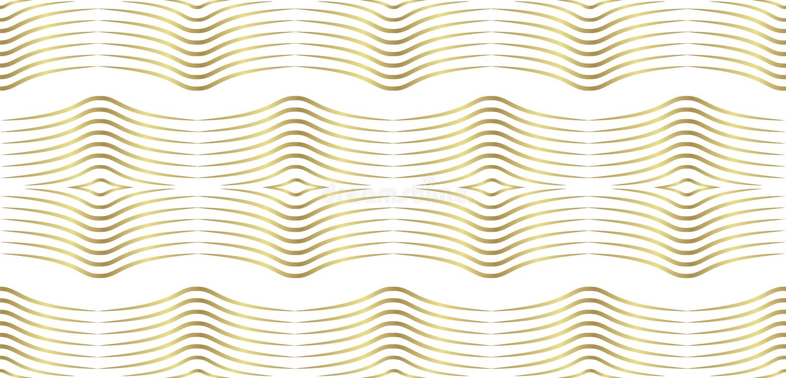 Vector geometric pattern of gold wavy lines in a minimalist style. modern seamless figure in gold gradient for design isolated on vector illustration