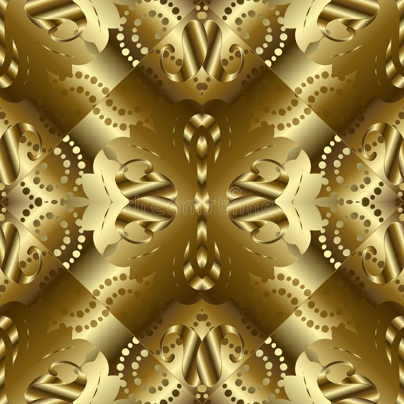 Gold textured 3d paisley seamless pattern. Golden surface abstract background wallpaper with vintage paisley stock illustration