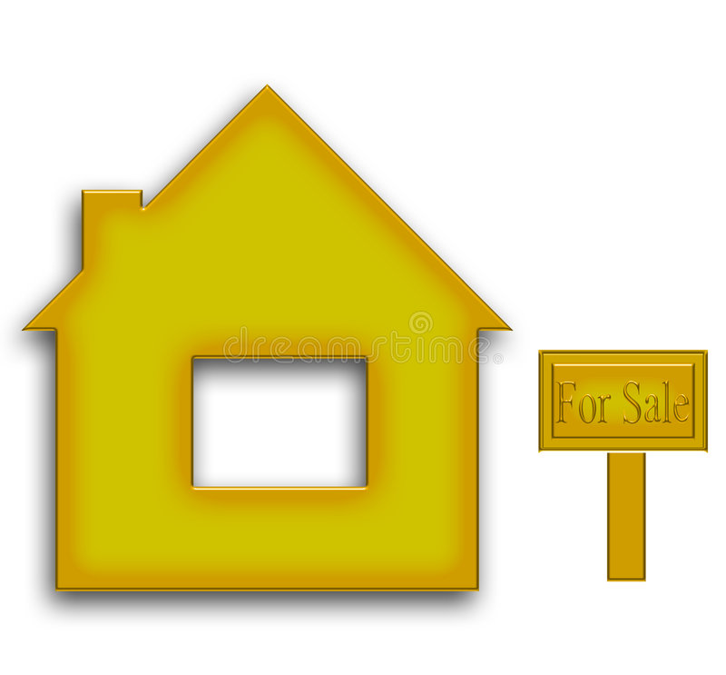 Gold textured house for sale stock illustration