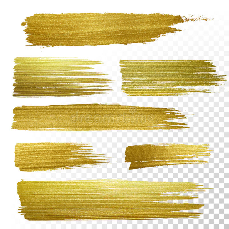 Gold textured paint strokes. Vector gold paint smear stroke stain set. Abstract gold glittering textured art illustration vector illustration