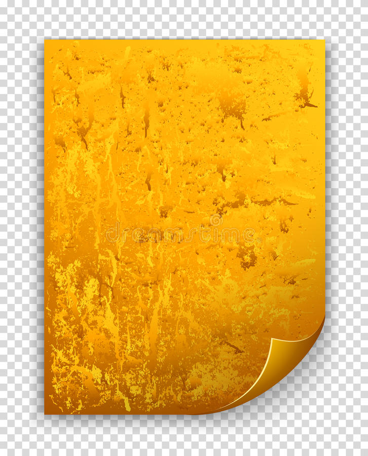 Gold textured sheet with curled corner vector illustration