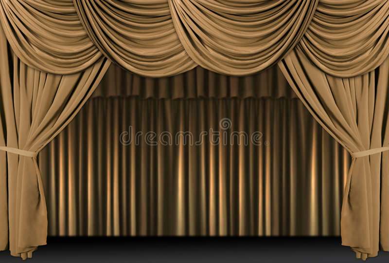Gold Theater Stage Draped With Curtains stock photo