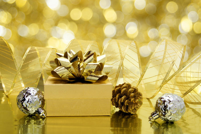 Gold themed Christmas still life stock photo