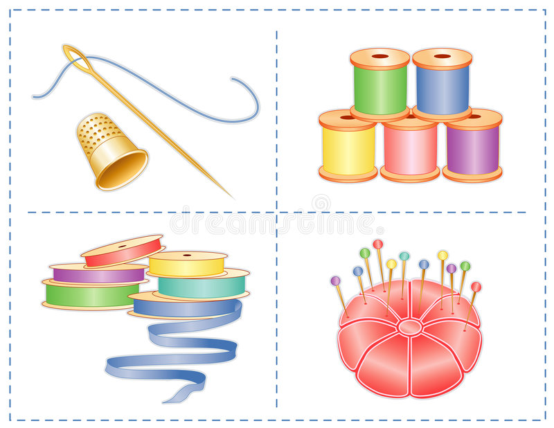 Gold Thimble, Needle, Sewing Accessories. Pastel collection of spools of ribbon & thread, satin pincushion with gold stick pins, gold thimble, needle and thread vector illustration