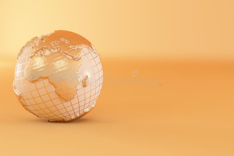 Download Gold Three-dimensional Earth On Yellow Background Stock Illustration - Illustration of global, cartography: 16106368