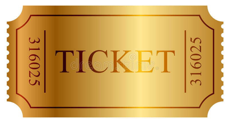Gold ticket royalty free illustration