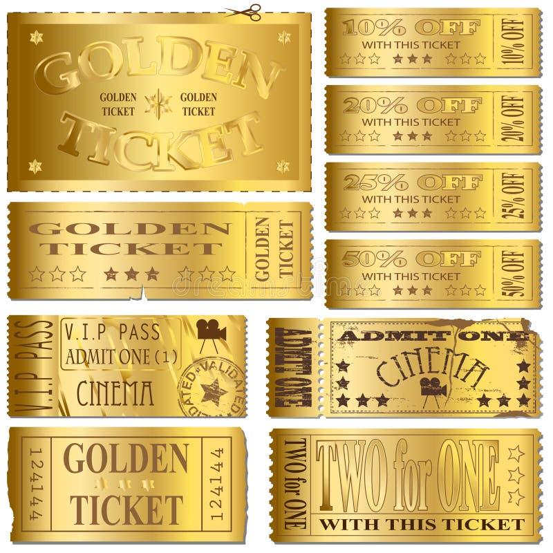 Gold Tickets royalty free illustration
