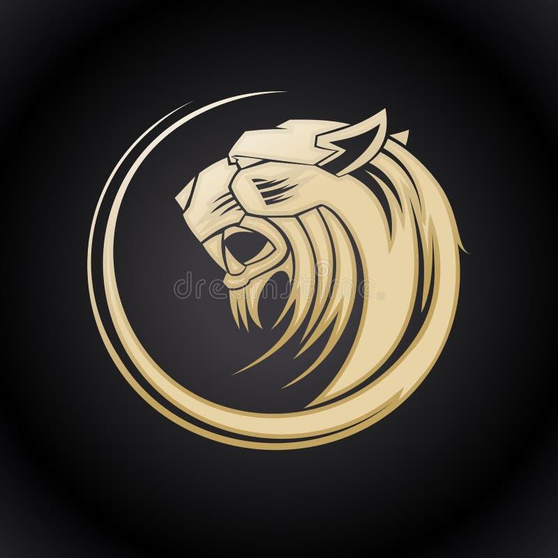 Gold tiger head logo. stock illustration