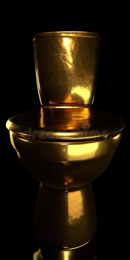 Gold toilet bowl. On black background royalty free stock images