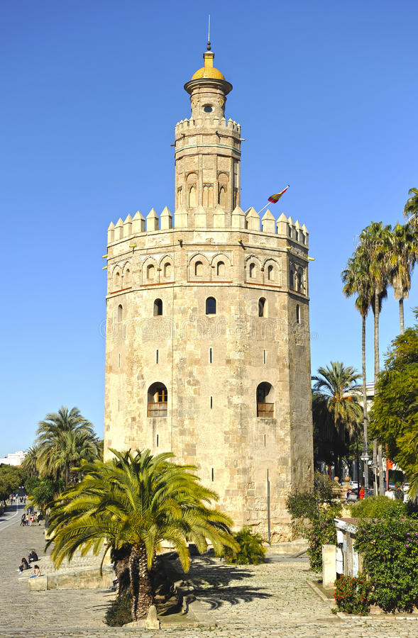 The Gold Tower, Seville, Spain. The Torre del Oro, Golden Tower, arabic tower of defense in the old port of Seville, Andalusia, Spain stock images
