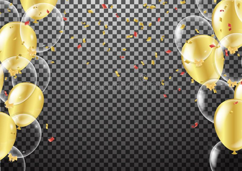 Gold transparent balloon on background balloons, vector illustration. Confetti and ribbons, Celebration background template with royalty free illustration