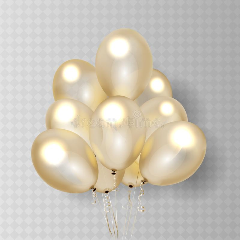 Gold transparent balloon on background. Frosted party balloons for event design. Balloons isolated in the air stock illustration