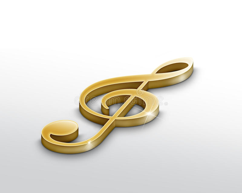 Download Gold Treble clef stock illustration. Image of blue, sing - 10410527