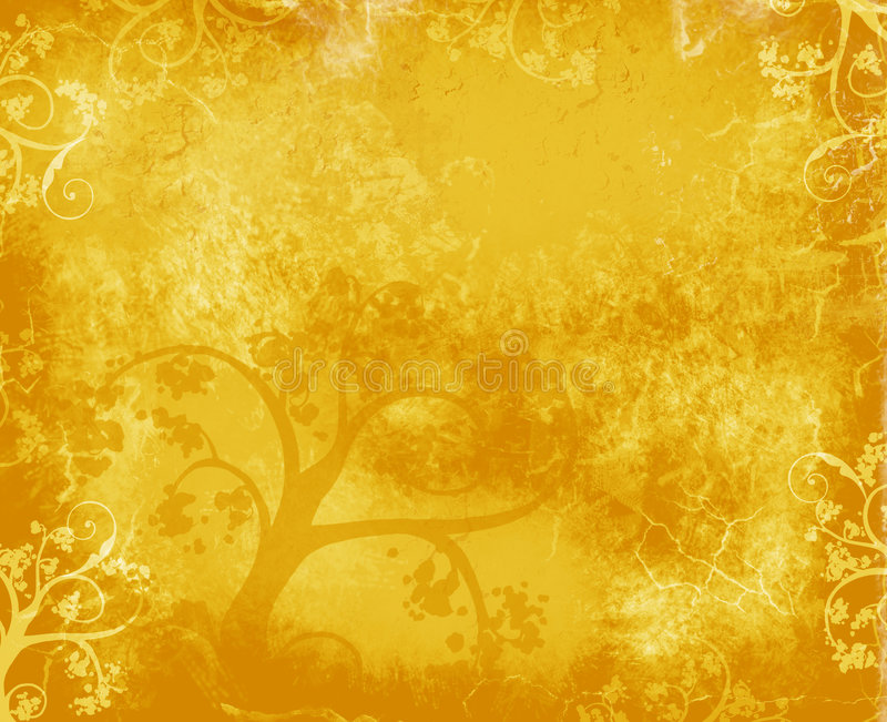 Gold Tree Background. Golden grunge background with tree and flourishes stock illustration