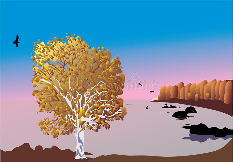 Gold tree near sea. Illustration with gold tree near sea vector illustration