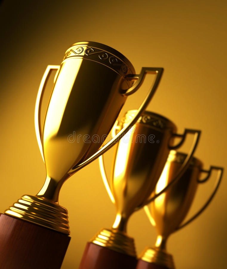 Gold trophy stock images