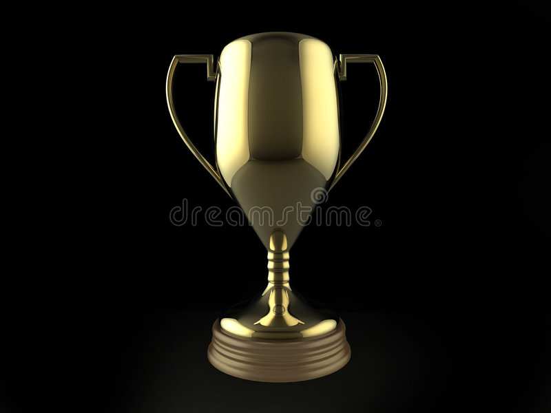 Gold Trophy On Black Background Stock Illustration ...