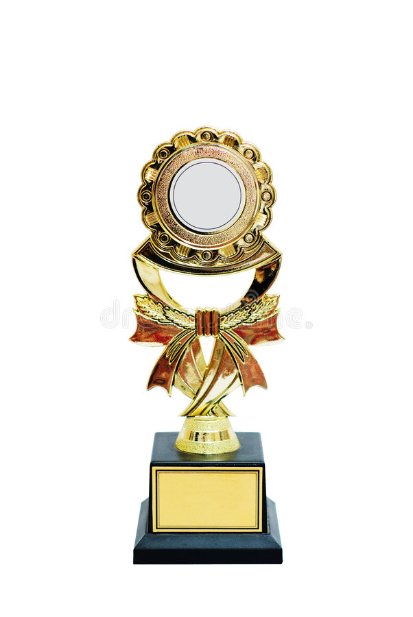 Gold Trophy with clipping path royalty free stock image