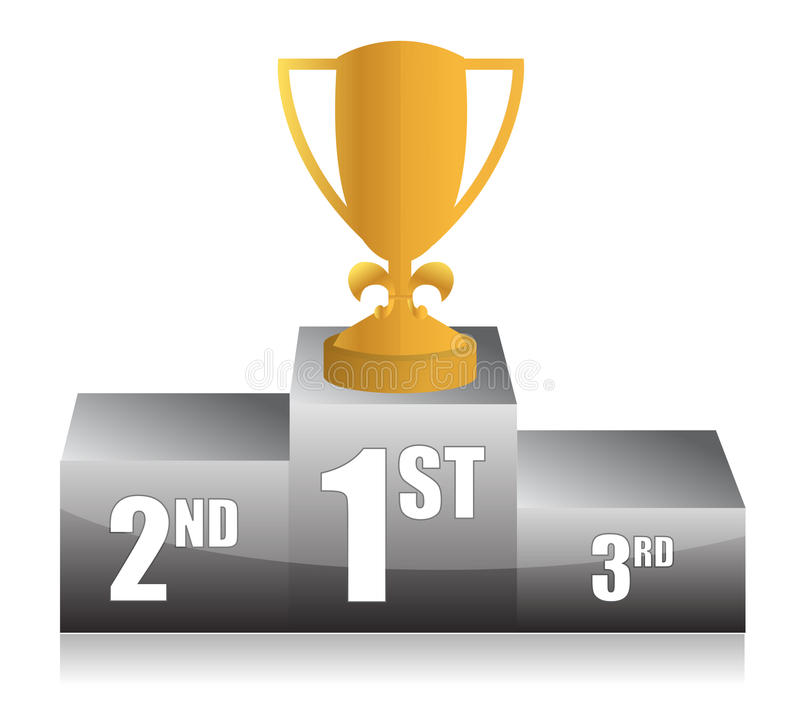 Download Gold trophy cup 1st place stock illustration. Illustration of first - 27463428
