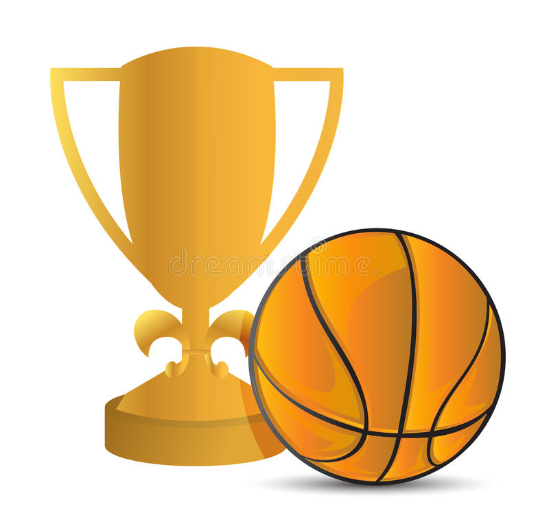 basketball award with blank gold label stock illustration