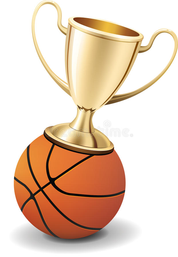Download Gold Trophy Cup On Top Of The Basketball Ball Stock Vector