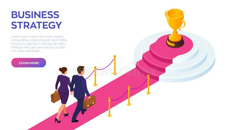 Gold Trophy Cup of the winner on a red carpet path. Businessman and businesswoman with briefcase in hand walking on red royalty free illustration