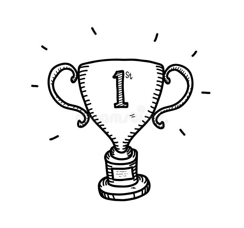 Gold Trophy Doodle stock illustration