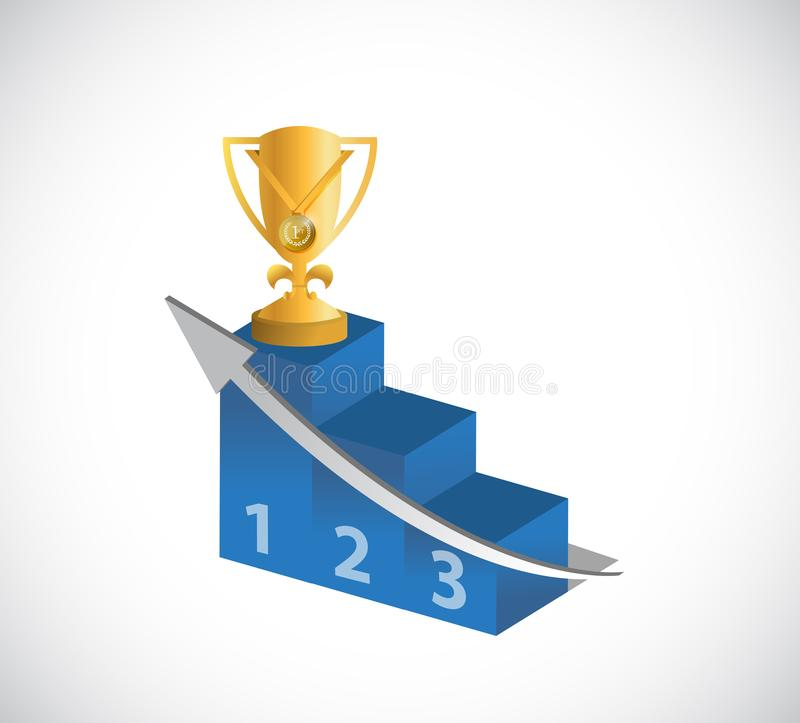 gold trophy and podium royalty free stock image