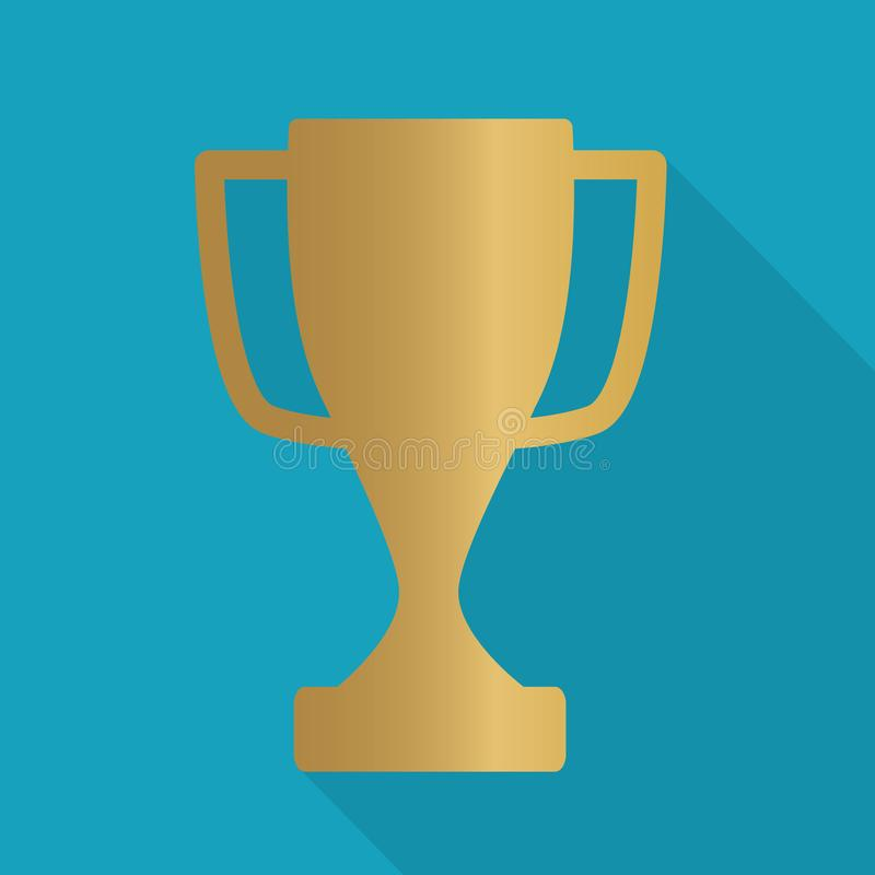 Gold trophy, winner cup icon. Vector illustration royalty free illustration